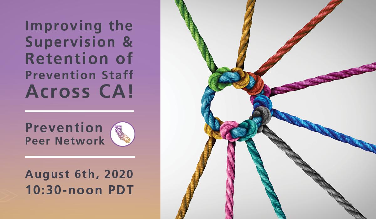 Webinar title is left of interwoven, multicolor yarn representing support across California